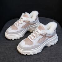 №【2019新款】冬天美女穿的棉鞋女冬加绒2018新款百搭休闲韩版学生老爹运动鞋女