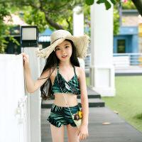 �和�游泳衣女童新款女孩泳�b分�w比基尼套�b����分�w小中大童泳�b �G色