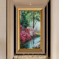玄关油画手绘工欧美式花卉田园风景竖幅走廊过道定制装饰挂壁画 带框100x200 单幅