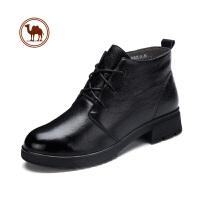 骆驼牌女靴 新品牛皮英伦风女短靴时尚休闲保暖女鞋