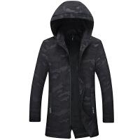 春装新款潮胖时尚大码风衣男士中长款加肥加大中青年迷彩夹克外套 黑色 87xsl