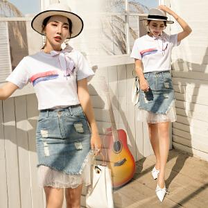 风轩衣度 2018年夏季韩版牛仔淑女甜美个性圆领套头时尚都市套装/套裙 2505-861