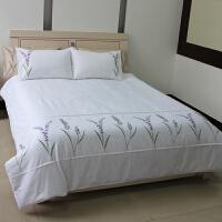 棉布斜纹三件套绣花床上用品被套枕套宿舍家庭用 1.8m(6英尺)床