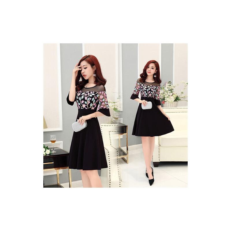 2018夏季新款雪纺连衣裙女韩版修身显瘦小个子网纱刺绣气质中裙子