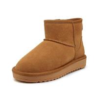 WARORWAR 2019新品YG29-S19-X9冬季欧美磨砂反绒牛皮真皮平底鞋舒适女羊毛羊绒混纺雪地靴
