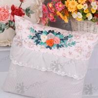 丝带绣抱枕靠垫粉红色的回忆3D十字绣立体绣温馨卧室 45*45