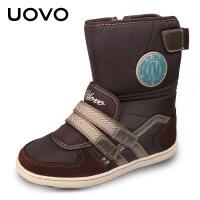 UOVO新款儿童雪地靴女童靴子男童靴子亲子鞋儿童童靴中低筒雪地靴 雪花A