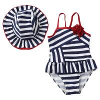 条纹女童游泳衣 儿童连体中小童宝宝女孩带泳帽泳装7132 藏蓝条纹