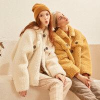 【2件2.5到手价:277.5】美特斯邦威棉服女冬装2019新款韩版短款保暖羊羔毛冬季外套女士