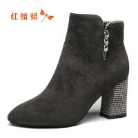【领�涣⒓�150】红蜻蜓angelababy明星商场同款短靴冬季新款粗跟尖头女鞋