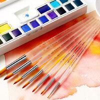 博格利诺尼龙水彩画笔套装 狼毫尖头勾线笔水粉笔初学者手绘笔油画丙烯颜料画笔专业成人美术笔7支装画画套装