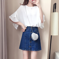 201808271652085702018夏装新款女装韩范潮短袖圆领衬衫修身时尚蕾丝雪纺衫上衣夏季 白色