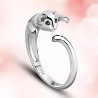 小猫咪925银戒指女可爱开口动物银饰品送女友爱人生日礼物 925银开口戒-可调节大小