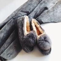 毛毛鞋女冬2018新款纯平底加绒网红鞋毛一体豆豆鞋女冬srr