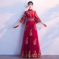 中式新娘敬酒服长款2018秋季新款秋冬季红色长袖结婚晚礼服女端庄大气yly