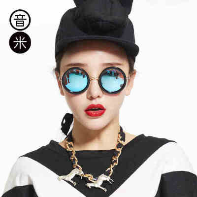 音米太阳镜女潮2017明星款圆脸墨镜男同款太子镜偏光个性眼镜圆形1696马思纯佩戴款,素颜神器