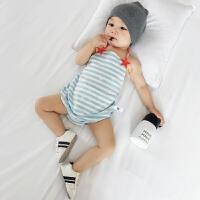 新生儿连体衣夏装婴儿衣服条纹短袖纯棉包屁哈衣宝宝爬服夏季