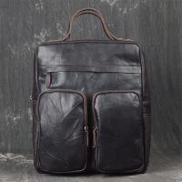 男士韩版手提电脑包女士大容量双肩包户外运动背包时尚潮流女包 深棕色