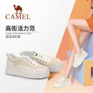 骆驼女鞋 2018秋季新款 运动休闲拼接系带厚底韩版时尚松糕鞋女
