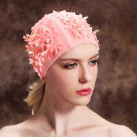 女士长发短发护耳游泳布帽女 彩色花瓣时尚泳帽 海滩帽子温泉帽