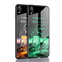 苹果x手机壳套 iPhoneXS保护壳 苹果iphone xs夜光钢化玻璃镜面硅胶软边全包防摔外壳硬壳