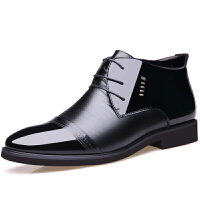 男士中高帮皮鞋男冬季加绒保暖棉鞋英伦男正装商务马丁靴短靴 黑色