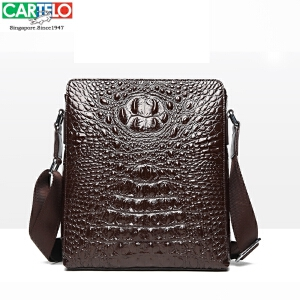 CARTELO/H卡帝乐鳄鱼 男包公文包男士手提包男商务14寸笔记本电脑包石头纹单肩包