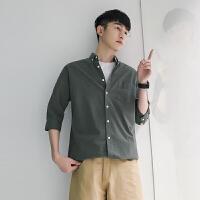 夏季寸衫男士半袖中袖潮流帅气短袖衬衣五分袖衬衫纯色