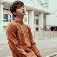 【2件2.5折到手价:112.5】MECITY男装2018冬季新款雪尼尔宽松套头毛衣韩版保暖毛衫