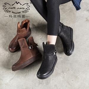 玛菲玛图2018新款  加绒保暖雪地靴女短靴厚底套筒靴平底棉鞋马丁靴女鞋362-20SM