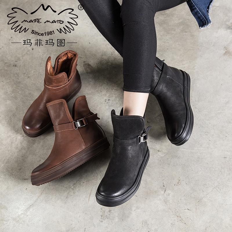 玛菲玛图2018新款加绒保暖雪地靴女短靴厚底套筒靴平底棉鞋马丁靴女鞋M1981362T20SM原创设计女鞋,晒图有红包。