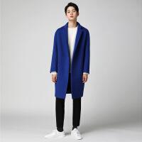 秋冬韩版毛呢大衣男中长落肩双面仿羊绒大衣男青年蓝色呢子大衣外套