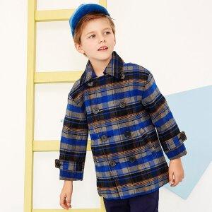【2件2.5折到手价:】美特斯邦威童装男童时尚廓型感呢大衣中大童双排扣冬装外套
