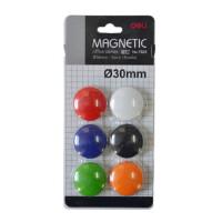 得力7825彩色磁钉白板磁粒 磁贴 磁扣白板磁粒30mm 6个装