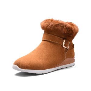 WARORWAR 2019新品YG28-Y333冬季欧美磨砂反绒牛皮真皮平底鞋舒适女鞋潮流时尚潮鞋百搭潮牌雪地靴