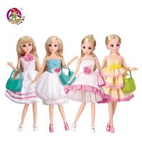 乐吉儿芭比洋娃娃套装大礼盒 公主换装仿真女孩儿童玩具生日礼物