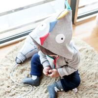 婴儿春装新款男宝宝可爱卡通恐龙连帽外套秋季纯棉拉链开衫衣服潮
