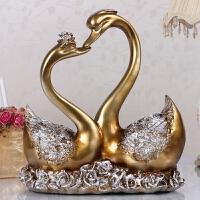 欧式家居软装饰品一吻定情情侣天鹅摆件创意结婚礼物婚庆新房用品