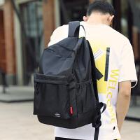 背包双肩包男时尚潮流青年日系原宿风纯色书包大学生高中韩版 黑色 6A02