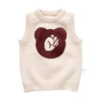 春秋薄款儿童针织马甲男童毛线背心女宝宝婴儿马夹4外穿1-3岁小童xx 男款米色(加厚款) 73cm(73cm(9M建议