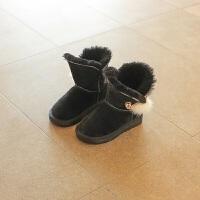 拥抱熊 女童雪地靴2017新款冬季加绒 儿童靴子秋冬款 女孩韩版棉鞋潮