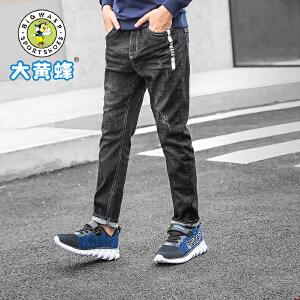 大黄蜂童装 男童牛仔裤 儿童裤子2018秋季新款韩版中大童休闲长裤
