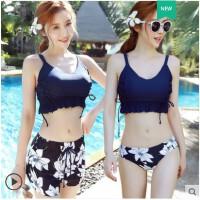 韩版大胸比基尼泳衣女三件套分体平角显瘦泰国度假性感聚拢温泉游泳衣