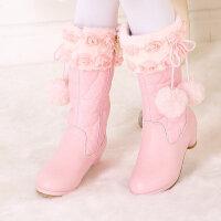 女童靴子加绒冬季2018新款童鞋女孩高筒长靴公主靴韩版儿童高跟靴