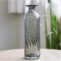 新品家居装饰品摆件客厅装饰灰玻璃花瓶水培鲜花花器 C款 高59CM货号B09305