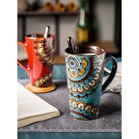 复古风马克杯带盖勺子大号喝水杯子个性咖啡杯手绘陶瓷高杯子家用
