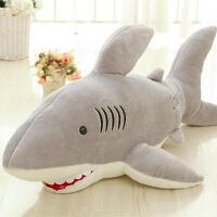 大鲨鱼公鱼类玩具毛绒玩具大号创意玩偶布娃娃 灰