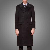 新年优惠【NEW】毛呢大衣长款秋冬季加厚商务过膝中青老年呢子风衣装 黑色