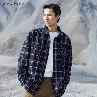 【1件3折价:299.7,可叠券】MECITY男装冬季时尚格纹衬衫式呢料夹克男士休闲外套男