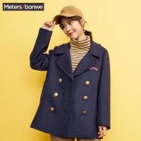 美特斯邦威呢子大衣女学生韩版冬装新款休闲羊毛外套商场款
